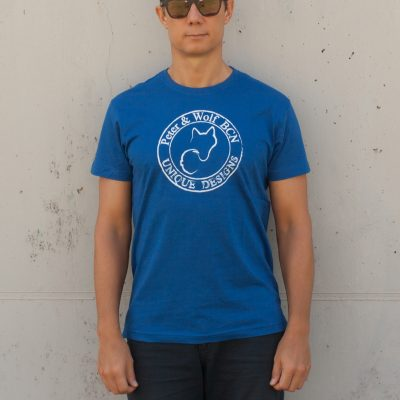 Camiseta manga corta azul logo blanco