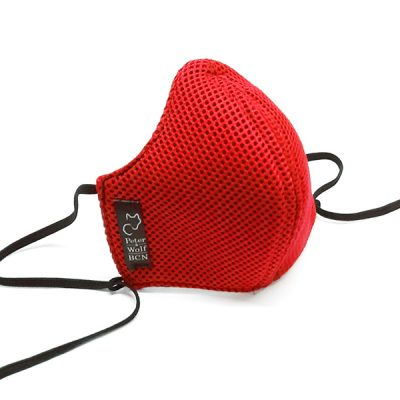 Mascarilla en tejido técnico 3D roja
