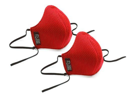 Pack 2 mascarillas tejido técnico 3D rojo
