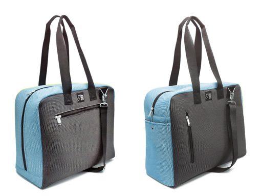 bolsa de viaje azul celeste-gris