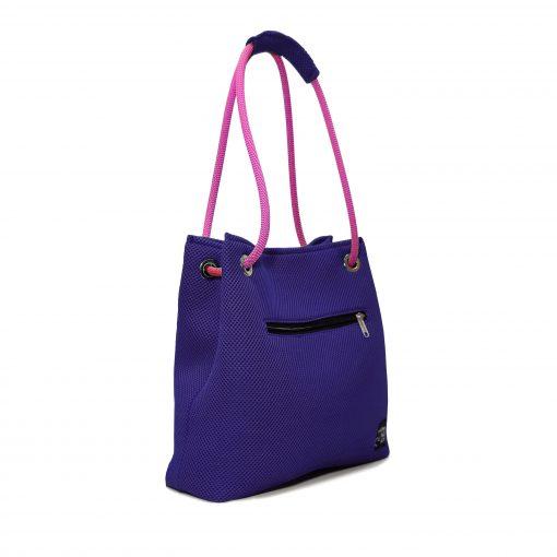 Bolso Kraft tejido 3D violeta asa rosa