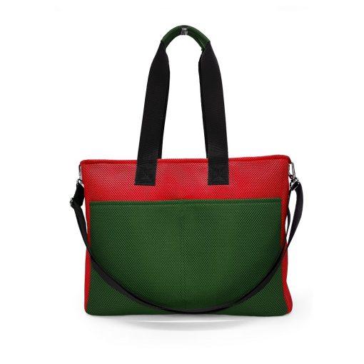 Bolso BOX L en 3D asa larga verde pino y rojo trasera