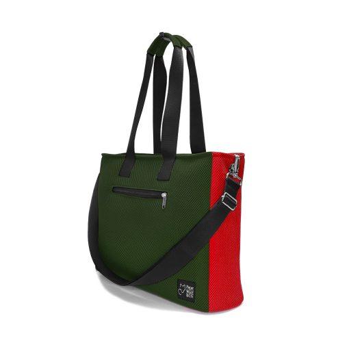 Bolso BOX L en 3D asa larga verde pino y rojo