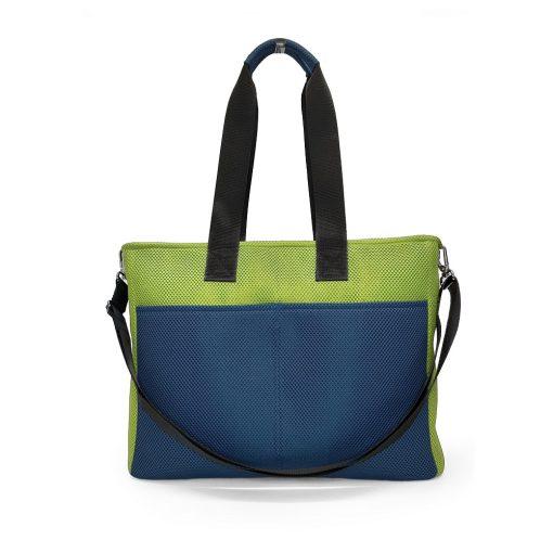 Bolso BOX L en 3D asa larga azul marino y verde pistacho trasera
