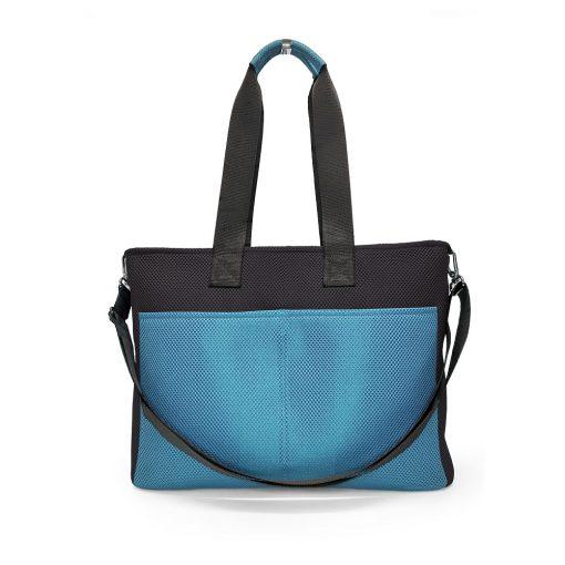 Bolso BOX L en 3D asa larga azul celeste y gris carbón trasera