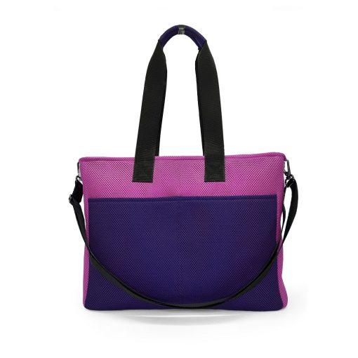 Bolso BOX L en 3D asa larga violeta y rosa trasera